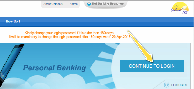 Continue to Login in SBI Online Banking