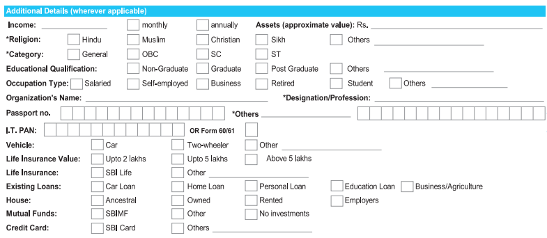 Additional Details in SBI Account Opening Form