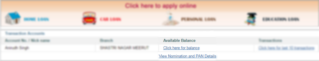 Check Available Account Balance in SBI Online