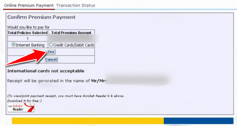 Choose payment method to pay LIC Premium Online