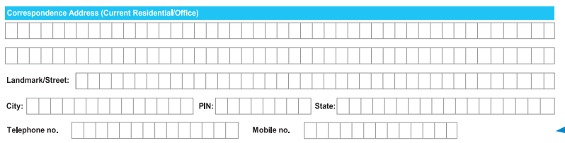 Correspondence Address in SBI Account Opening Form