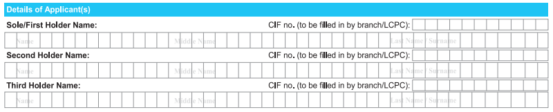 Detail of Applicant in SBI Account Opening Form