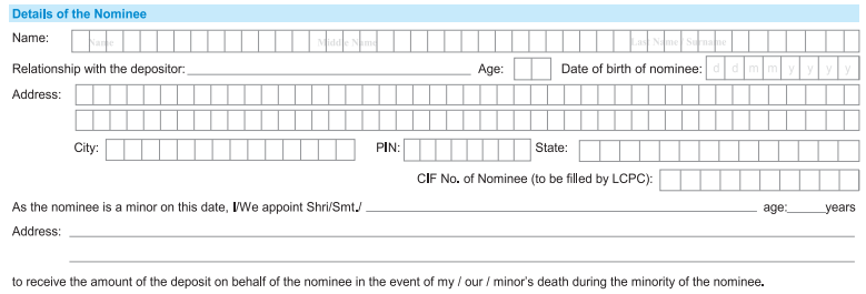 Details of Nominee in SBI Account Opening Form