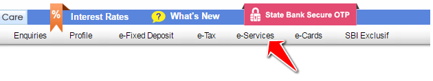 E Services Option in SBI Online