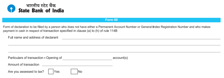 Form 60 SBI Account Opening Form -1
