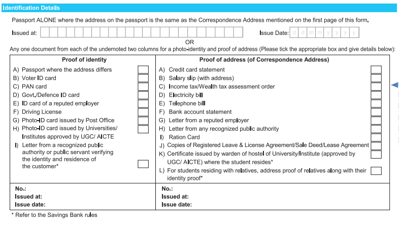 Identification Details in SBI Account Opening Form