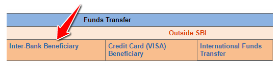 Inter Bank Beneficiary in SBI Online