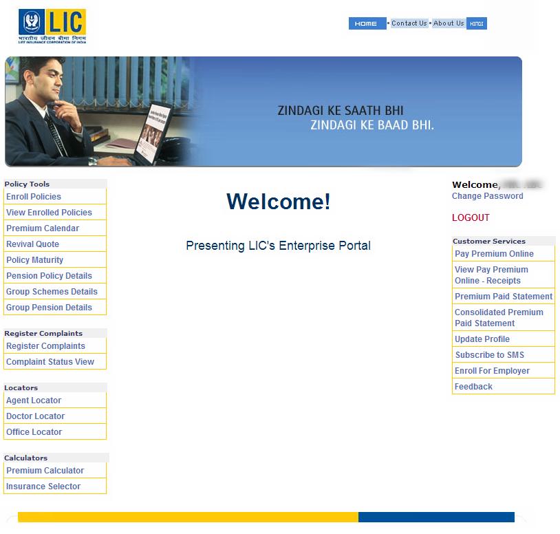 LIC's Enterprise Portal - LIC Online Account