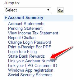 Link your Aadhaar Number in SBI Account Online