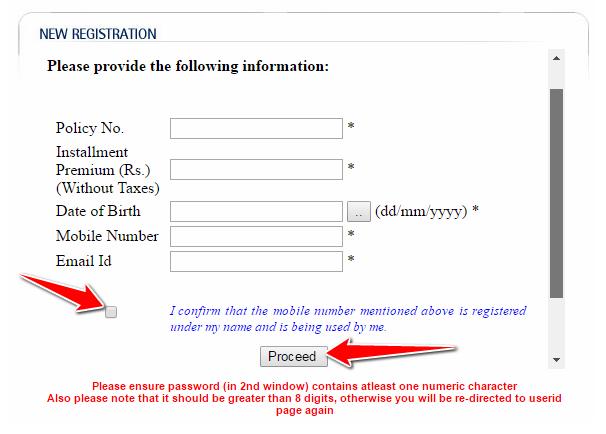 New User Registration on LIC India Website