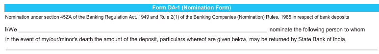 Nomination form in SBI Account Opening Form