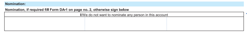 Nomination not filled in SBI Account Opening Form