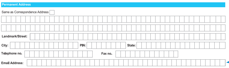Permanent Address in SBI Account Opening Form