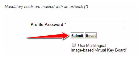 Profile Password in SBI Online
