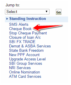 Requesting Cheque Book in SBI Online