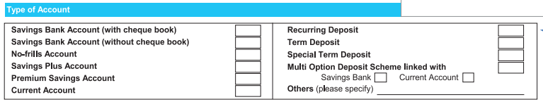 Type of Account in SBI Account Opening Form