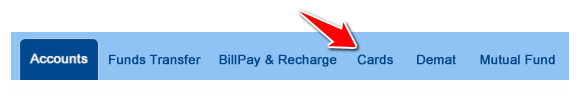 Cards Option in HDFC Net Banking