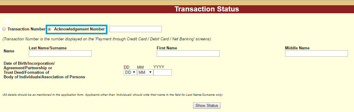 Check PAN Card Failed Transaction Status by Acknowledgement Number
