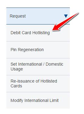 HDFC Debit Card Hotlisting