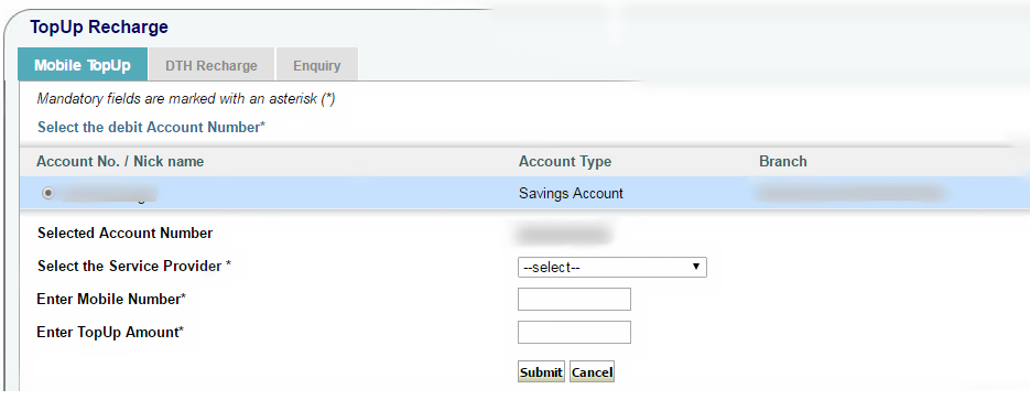 How to Recharge Mobile through SBI Internet Banking ?