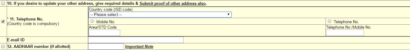 PAN Mobile Number Change Form