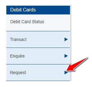 Request Option Under Debit Cards in HDFC Net Banking