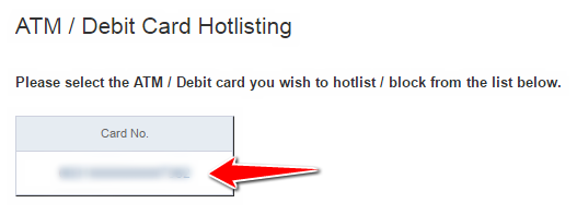 Select the HDFC ATM Card to Block