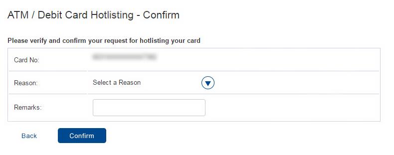 Select the Reason to Block HDFC Debit Card