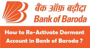 Reactivate Dormant Account in Bank of Baroda