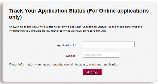 axis bank application status for credit card