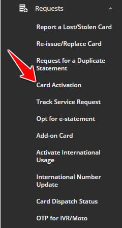 Card Activation in SBI Card Online Website