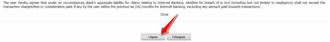 Agree to the Terms and Conditions of Canara Bank Internet banking registration
