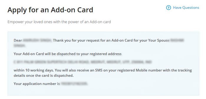 Apply for Add On Card SBI