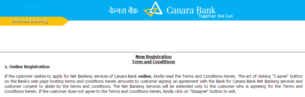 Canara Bank Net Banking registration Terms and Conditions