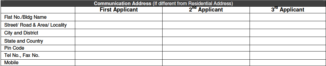 Communication Address in Bank of Baroda Account Opening Form