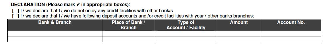 Declaration in Bank of Baroda Account Opening form