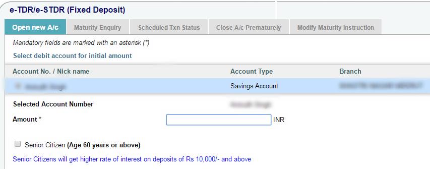 Fixed Deposit Amount in SBI