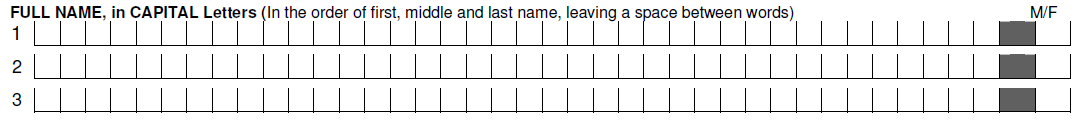 Full Name and Gender in Bank of Baroda Account Opening Form