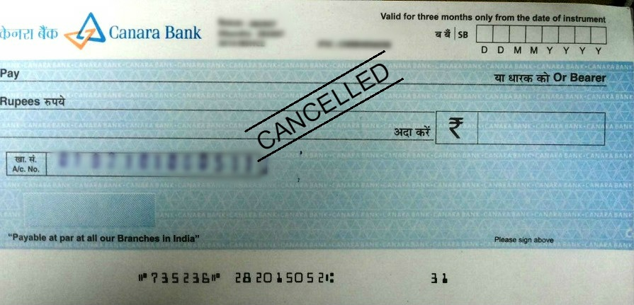 How to Write a Cancelled Cheque in Canara Bank