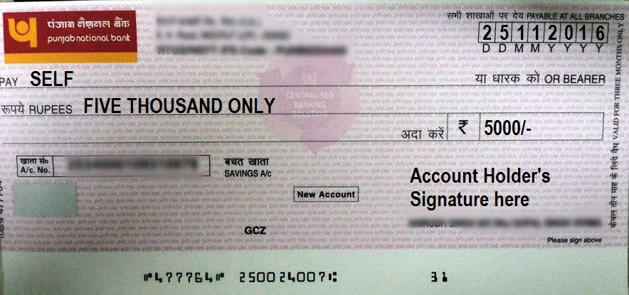 How to Write a Self Cheque in PNB