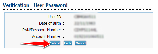Reset Password Verification for Canara Net banking