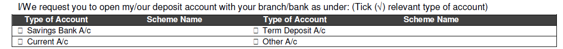 Type of Account in Bank of Baroda Account Opening Form