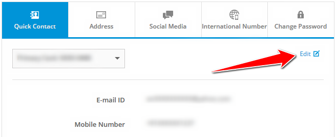 Edit Mobile Number in SBI Credit Card