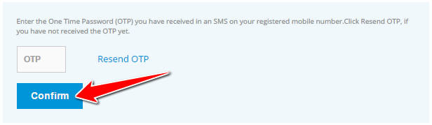 Enter OTP to Change SBI Credit Card Address