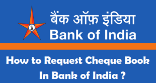 How to Request Cheque Book in Bank of India