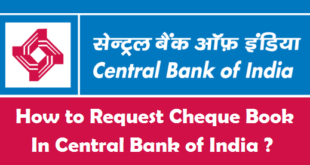 How to Request Cheque Book in Central Bank of India
