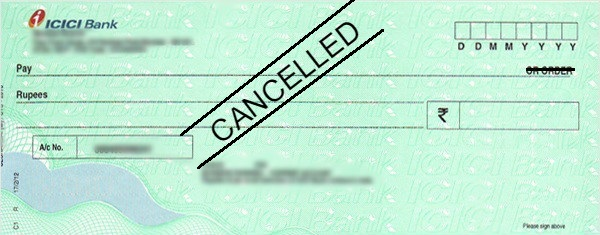 How to Write a Cancelled Cheque in ICICI Bank