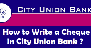 How to Write a Cheque in City Union Bank
