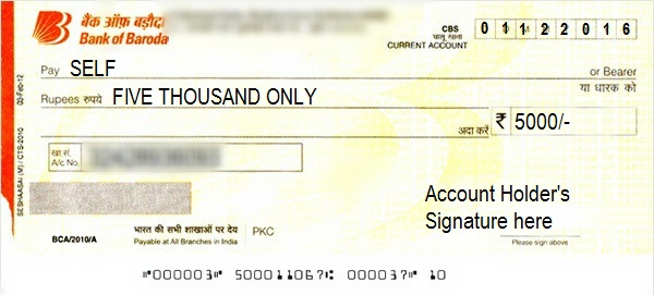 how to write a cheque in bank of baroda    self  account payee  cancelled
