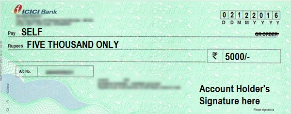 How to Write a Self Cheque in ICICI Bank